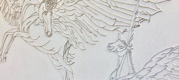 Pegaso e unicorno Particolare